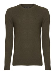 Label Lab Mccann Ribbed Shoulder Detailing Crew Neck Jumper Dark Green
