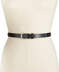 Inc International Concepts Studded Skinny Leather Belt Only At Macy's Black
