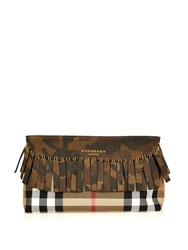 Burberry Camouflage Fringe Checked Clutch