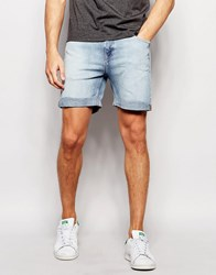 Weekday Beach Slim Denim Shorts In Blue Beat Light Wash Blue Beat 74 101
