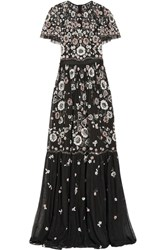 Needle And Thread Petal Embellished Tulle Gown Black