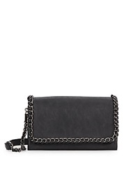 Kensie Chain Trimmed Faux Leather Crossbody Black