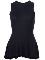 Derek Lam Knitted Peplum Blouse Black