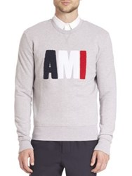Ami Alexandre Mattiussi Long Sleeve Crewneck Sweatshirt Heather Grey