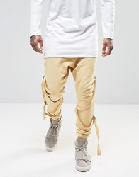Granted Skinny Joggers With Staps Beige Tan