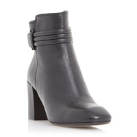 Dune Olena Square Toe Leather Ankle Boot Black Leather