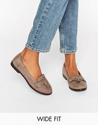 New Look Wide Fit Suedette Loafer Light Brown