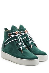 Filling Pieces High Marina Suede Platform Sneakers Green