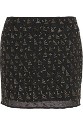 Joie Loubelle Bead Embellished Silk Chiffon Mini Skirt Black