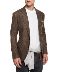 Brunello Cucinelli Plaid Two Button Flannel Sport Coat Brown