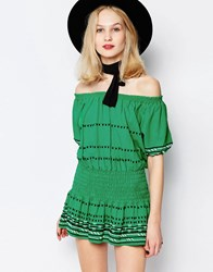 Piper Butuan Off Shoulder Mini Dress In Green Kelly Green