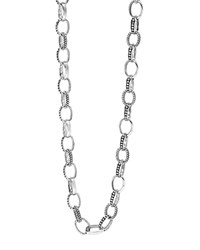 Lagos Sterling Silver Link Caviar And Smooth Chain Necklace 18