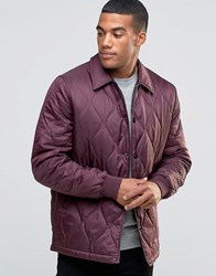 Asos Quilted Jacket In Ripstop Fabric In Burgundy Burgundy Red