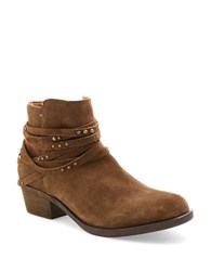Kensie Gilberto Strappy Suede Ankle Booties Chestnut