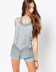 Brave Soul Denim Wash Sleeveless Shirt With Embroidered Detail Antique Blue