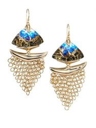 Alexis Bittar 10K Goldplated Brass Mesh Wire Earrings Indgo Gold