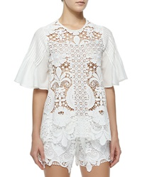 Alexis Emmanuel Crochet Bell Sleeve Top White