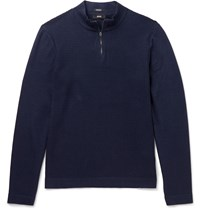 Hugo Boss Henderson Cotton And Virgin Wool Blend Half Zip Sweater Blue