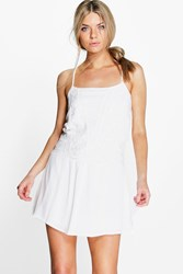 Boohoo Crochet Sundress White