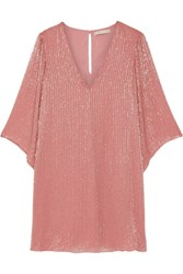 Alice Olivia Tammin Embellished Chiffon Mini Dress Antique Rose
