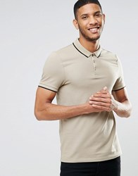Asos Muscle Pique Polo Shirt With Contrast Collar And Sleeve Tipping In Beige Black Leuitenant Black Multi