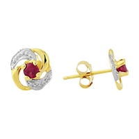 A B Davis 9Ct Yellow Gold Knot Shaped Ruby Earrings Ruby