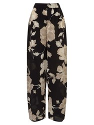 East English Rose Silk Palazzo Trousers Black