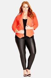 City Chic Plus Size Women's Chiffon Sleeve Blazer Paradise