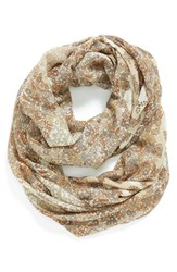 Women's Hinge Floral Print Infinity Scarf Brown Tan Combo
