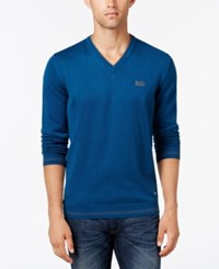 Hugo Boss Green Men's Lightweight V Neck Sweater Dark Blue
