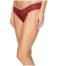 Hanky Panky Holiday Check Low Rise Thong Red Black Women's Underwear