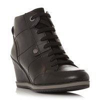 Geox D Ilusion Lace Up Sporty Wedge Shoes Black