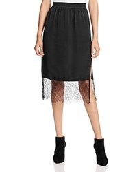 Aqua Lace Trim Midi Skirt Black