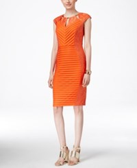 Sangria Embellished Lace Trim Sheath Dress Orange
