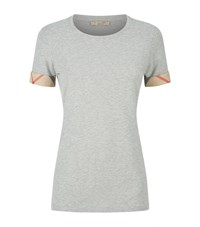 Burberry Check Cuff Stretch Cotton T Shirt Female Grey