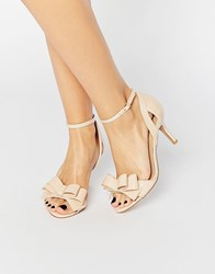 Miss Kg Caiden Bow Heeled Sandals Nude Patent Beige
