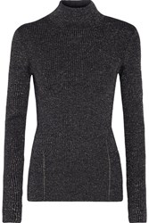 Diane Von Furstenberg Tess Metallic Merino Wool Blend Turtleneck Sweater Midnight Blue