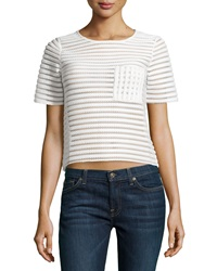 Romeo And Juliet Couture Mesh Striped Short Sleeve Top Winter White
