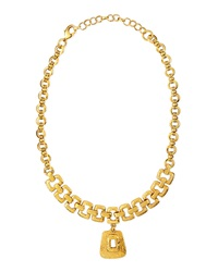 Jose And Maria Barrera Hammered 24K Gold Plated Necklace