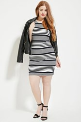 Forever 21 Plus Size Stripe Bodycon Dress Navy Ivory