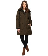 Jessica Simpson Quilted Fill Puffer With Hood And Fleece Bib Loden Women's Coat Green