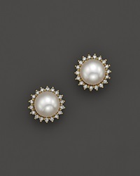 Bloomingdale's Cultured Akoya Pearl Earrings In 14K Yellow Gold With Diamonds 7Mm