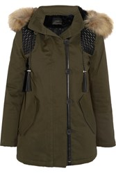 Maje Faux Fur And Faux Leather Trimmed Cotton Blend Twill Parka Army Green