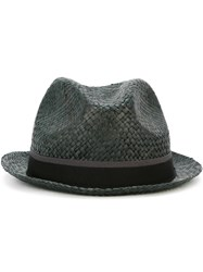 Paul Smith Contrasting Stripe Straw Trilby Hat Grey