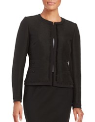 Karl Lagerfeld Tweed Fringe Trim Blazer Black