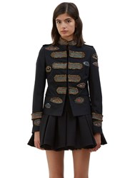 Valentino Embroidered Eye Military Jacket Black
