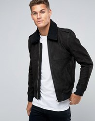 Selected Homme Leather Flight Jacket With Removeable Borg Collar Black