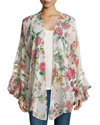 Romeo And Juliet Couture Floral Crochet Trim Long Sleeve Kimono Pink Multi