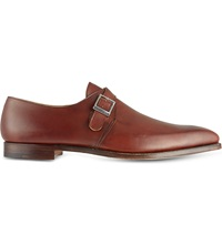 Crockett Jones Leather Single Buckle Monk Shoes Tan