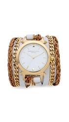 Sara Designs Leather And Chain Wrap Watch White Gold